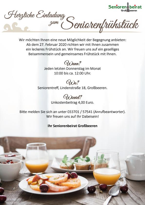 1. Seniorenfrühstück @ Seniorentreff Lindenstr.